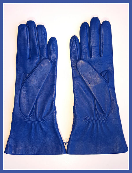 Royal Blue Moschino Leather Gloves