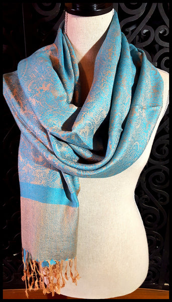 Turquoise and Gold Scarf