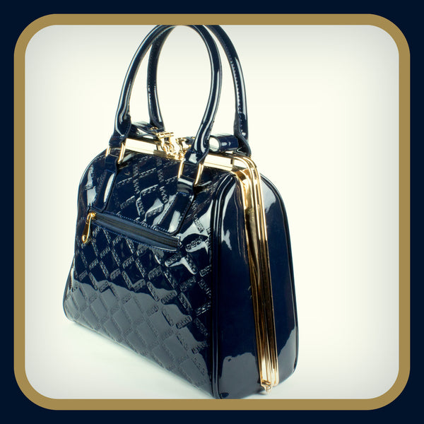 Blue Patent Quilted Handbag
