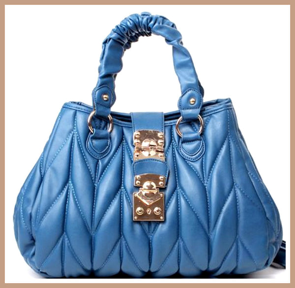 Light Blue Quilted Handbag