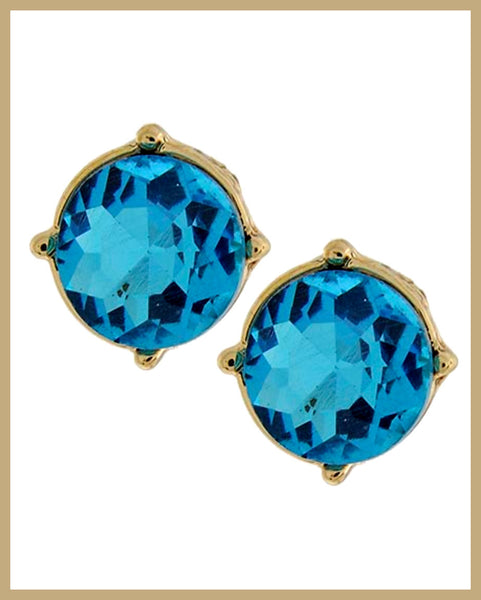 Blue Glass Button Earrings