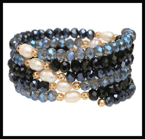 Beaded & Pearl Stretch Bracelet