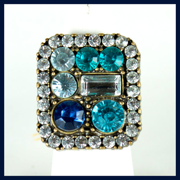 Square Blue Cluster Ring