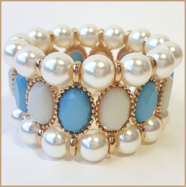 Blue Stone & Pearl Stretch Bracelet