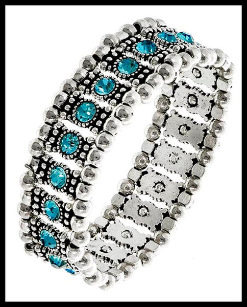 Silver Bracelet with Blue Rhinestones