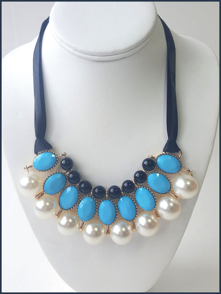 Blue Tie Necklace