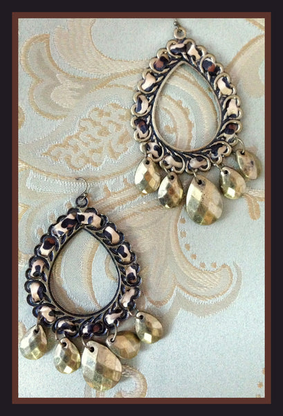 Brass & Leopard Ribbon Earrings