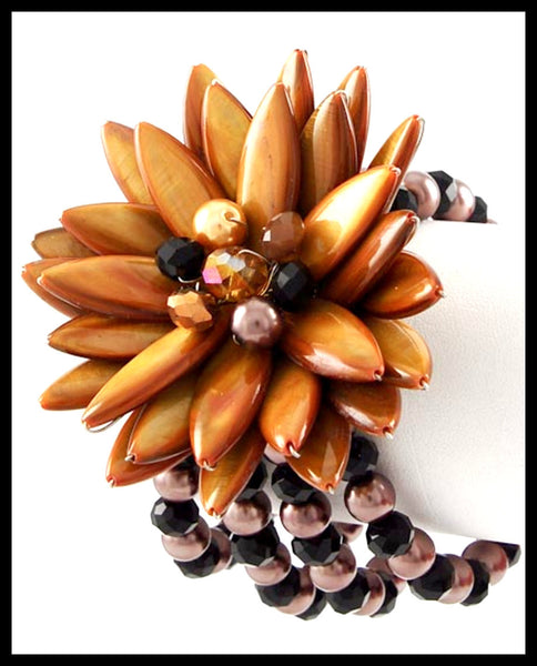 Rhodiumized, Brown Shell & Black Glass Bracelet
