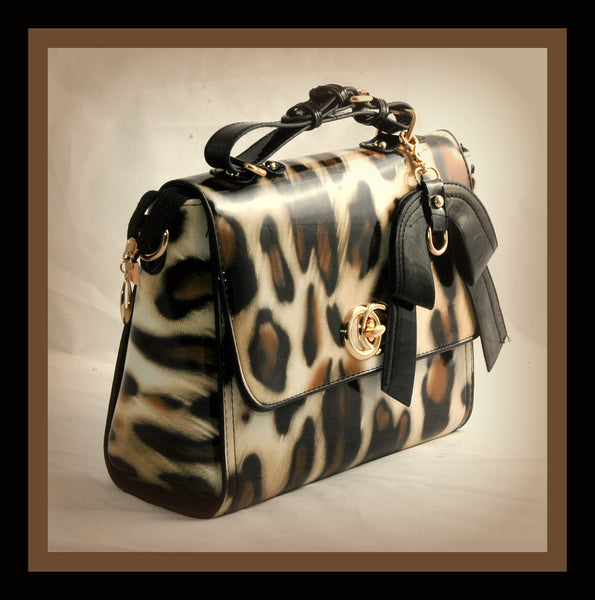 Brown And Black Leopard Satchel