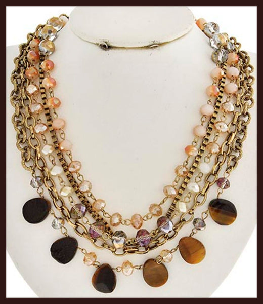 Multi-Strand Brown Stone Necklace