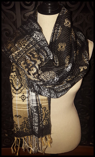 Black, Beige & White Scarf