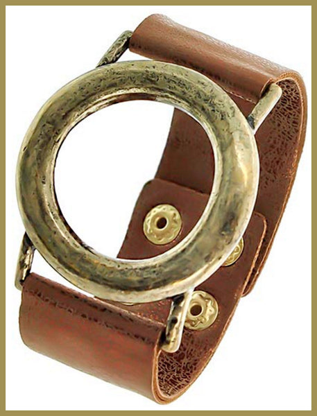 Burnished Gold/Brown Band Bracelet