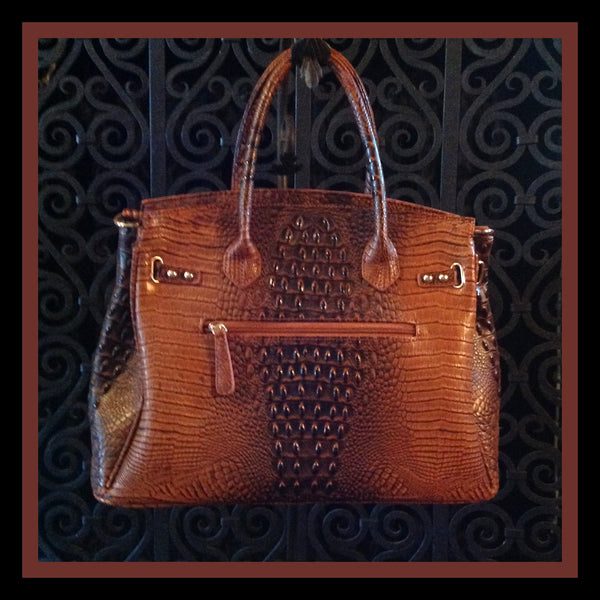Brown Alligator Print Handbag