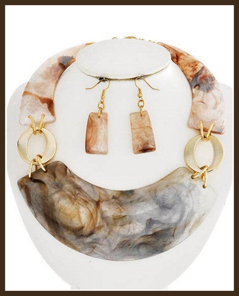 Brown Marble Acrylic Necklace & Earring Set