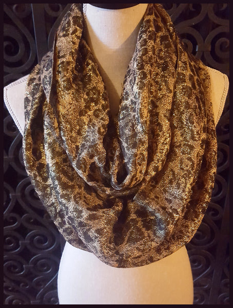 Metallic, Brown & Gold Infinity Scarf