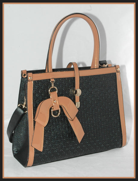 Black Embossed Handbag