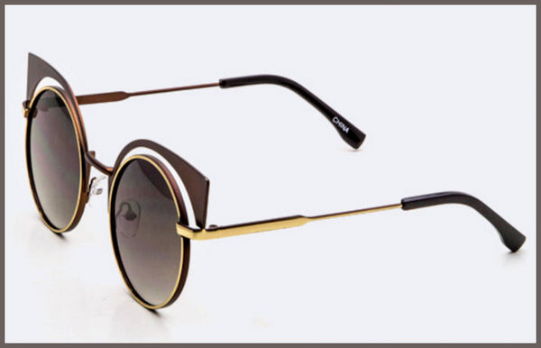 Brown, Iconic Round Cat Eye Sunglasses