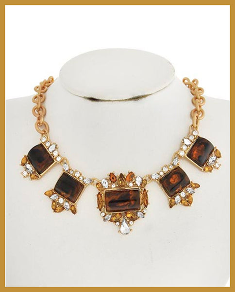 Brown Acrylic & Rhinestone Necklace
