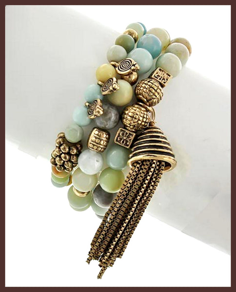 Burnished Gold, Green & Blue Stone, Tassel Bracelet
