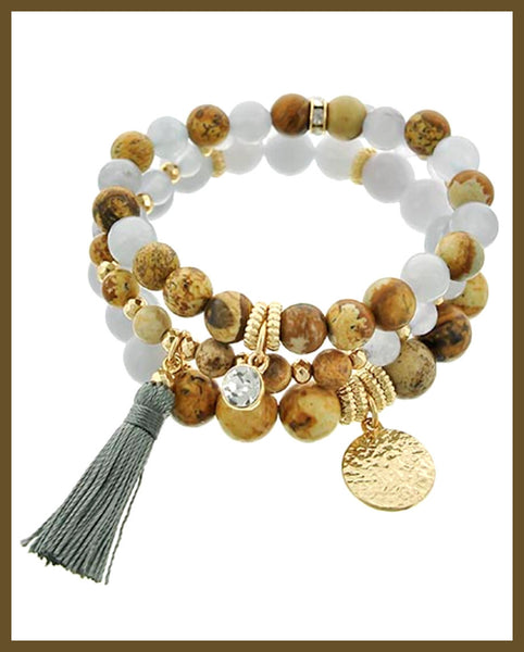 Gold, Brown & Grey Stone, Charm Bracelet