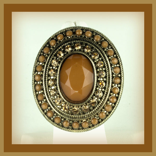 Large Brown Faceted Oval Ring