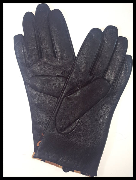 Black & Leopard Print Calf Skin Gloves