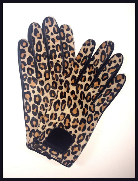 Leopard Calf Skin Gloves