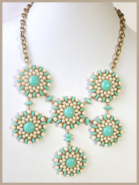 Faux Turquoise & White Pearl CAROLEE Necklace