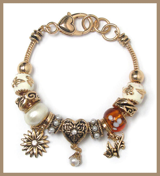 Murano Glass & Crystal, Flower Theme Charm Bracelet