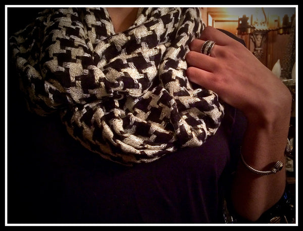 Black and Silver Infinity Scarf