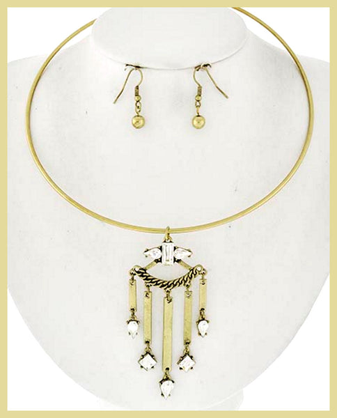 Burnished Gold & Glass Choker & Earrings
