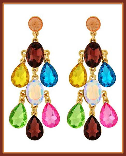 Multi-Color Glass Chandelier Earrings