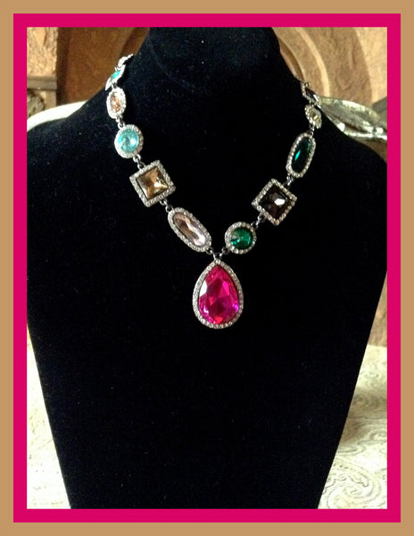 Multi-Color Stone Necklace & Earring Set