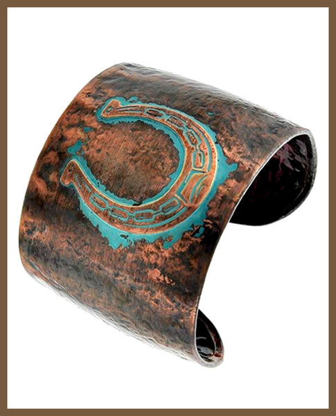 Copper & Patina Metal Western Cuff Bracelet