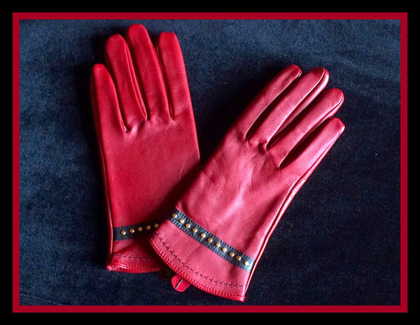 Cranberry Studded Gloves