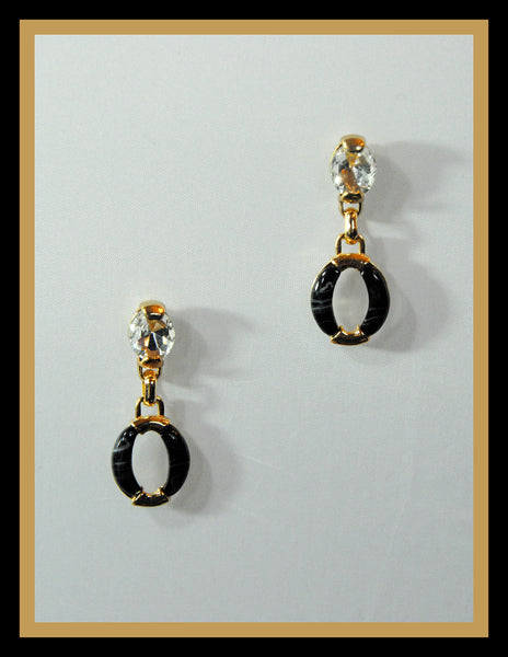 Crystal & Black Enamel Earrings