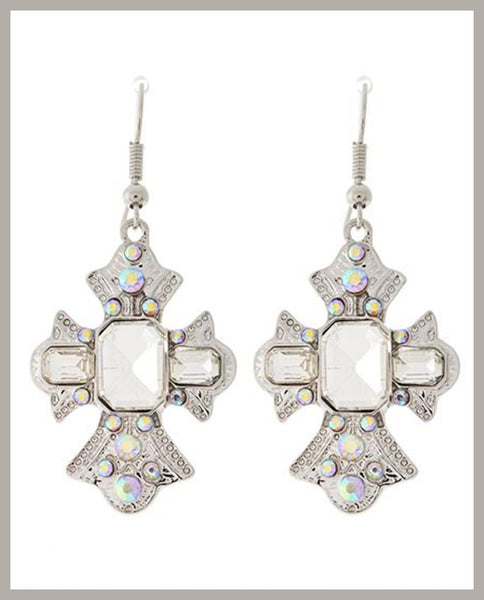 Rhinestone Cross Earrings