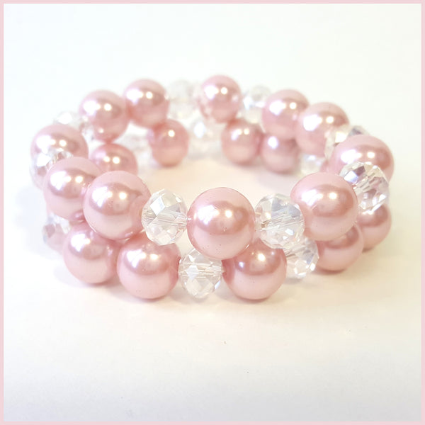 Pink Pearl & Clear Stone Acrylic Bracelets