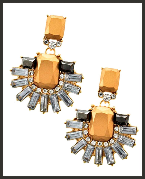 Bronze/Crystal/Rhinestone Earrings