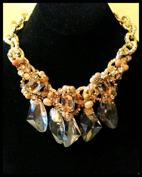 Gold & Amber Colored Crystal Necklace