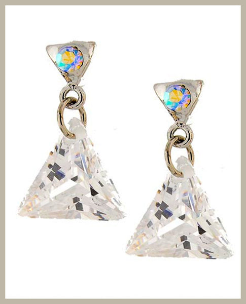 Cubic Zirconia Triangle Earrings
