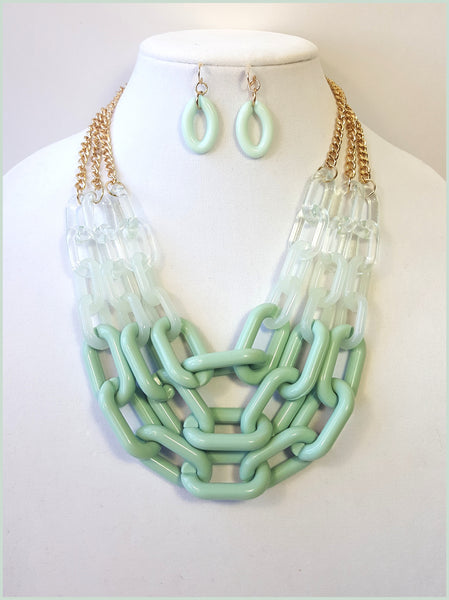 Green & Opaque, Multi-Strand Necklace & Earring Set