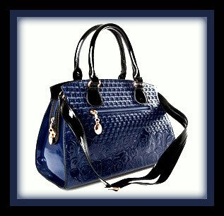 Dark Blue Patent Embossed Handbag