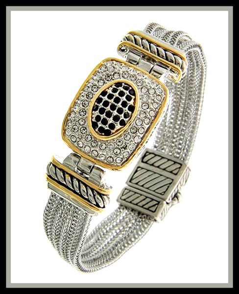 Two-Tone, Clear Rhinestone Bracelet