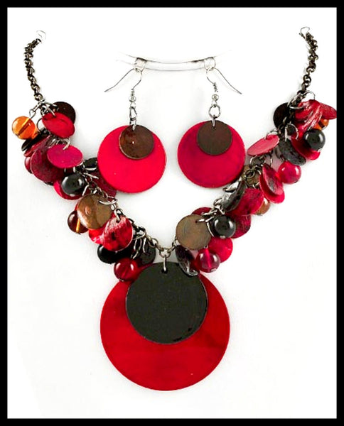 Contemporary Red Lacquer Shell Necklace