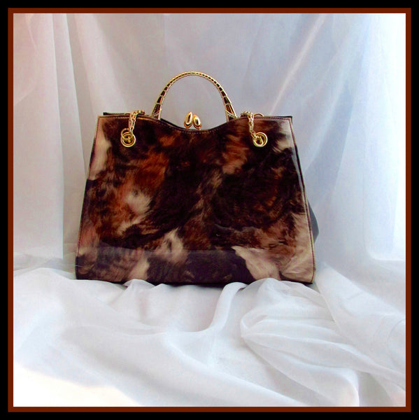 Brown Fur Print Handbag