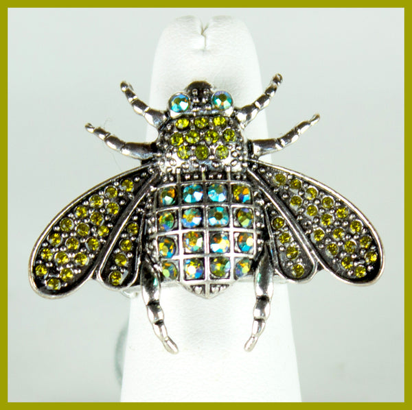 Silver Tone Colorful Bug Ring