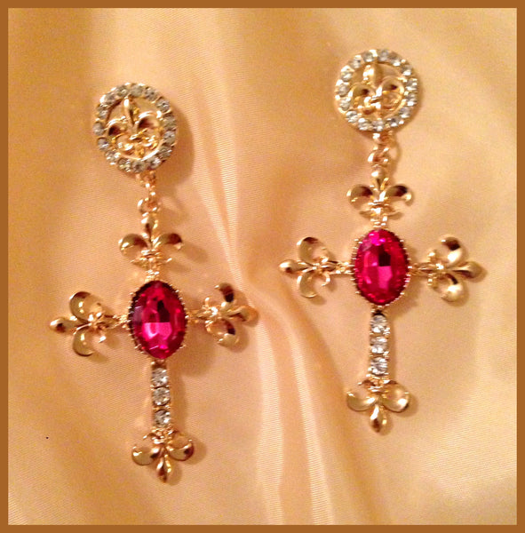Cross Earrings with Fuchsia Stone