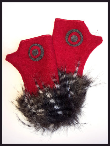 La Fenice Red Wool Gloves with Faux Fur Trim
