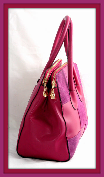 Magenta & Purple Suede Checkered Handbag